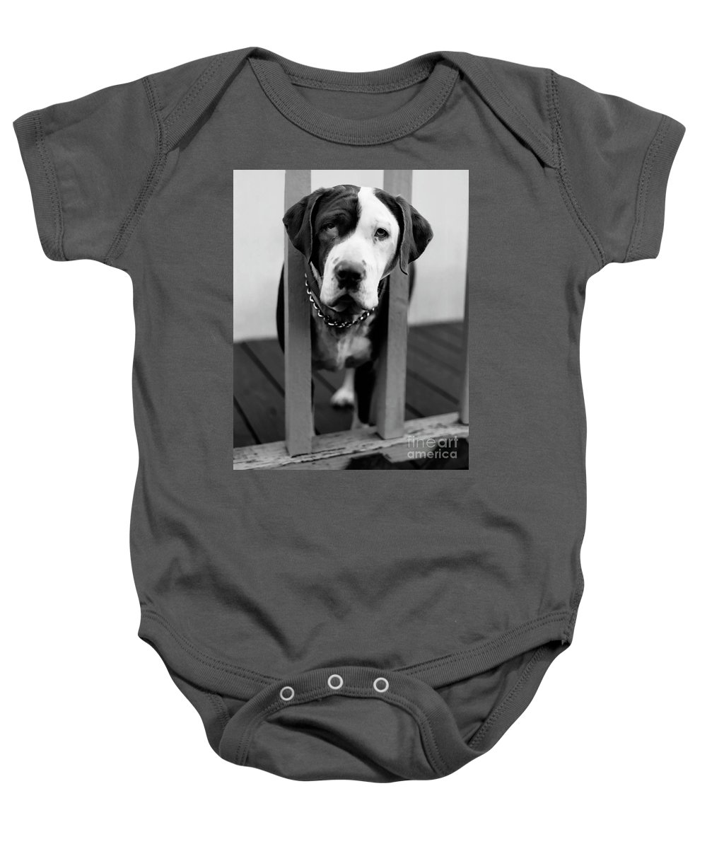 Black And White Baby Onesie featuring the photograph So Sad by Peter Piatt