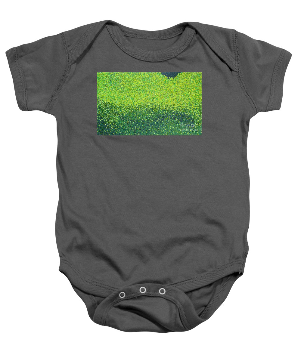 Abstract Baby Onesie featuring the painting Soft Green Wet Trees by Dean Triolo