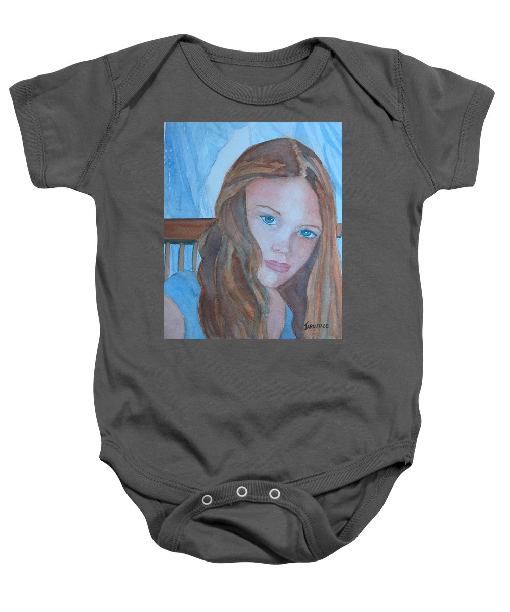 Girls Baby Onesie featuring the painting Soft Steel by Jenny Armitage