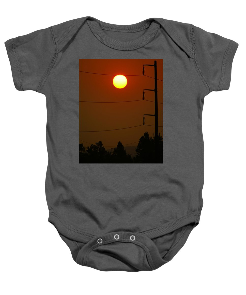 Nature Baby Onesie featuring the photograph Solar Power Lines by Ben Upham III
