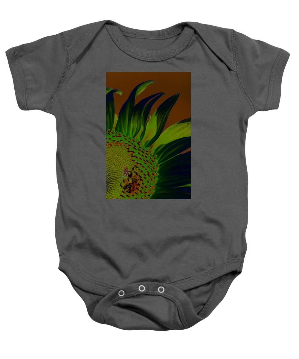 Sun Baby Onesie featuring the photograph Solar Sunflower by Carolyn Stagger Cokley