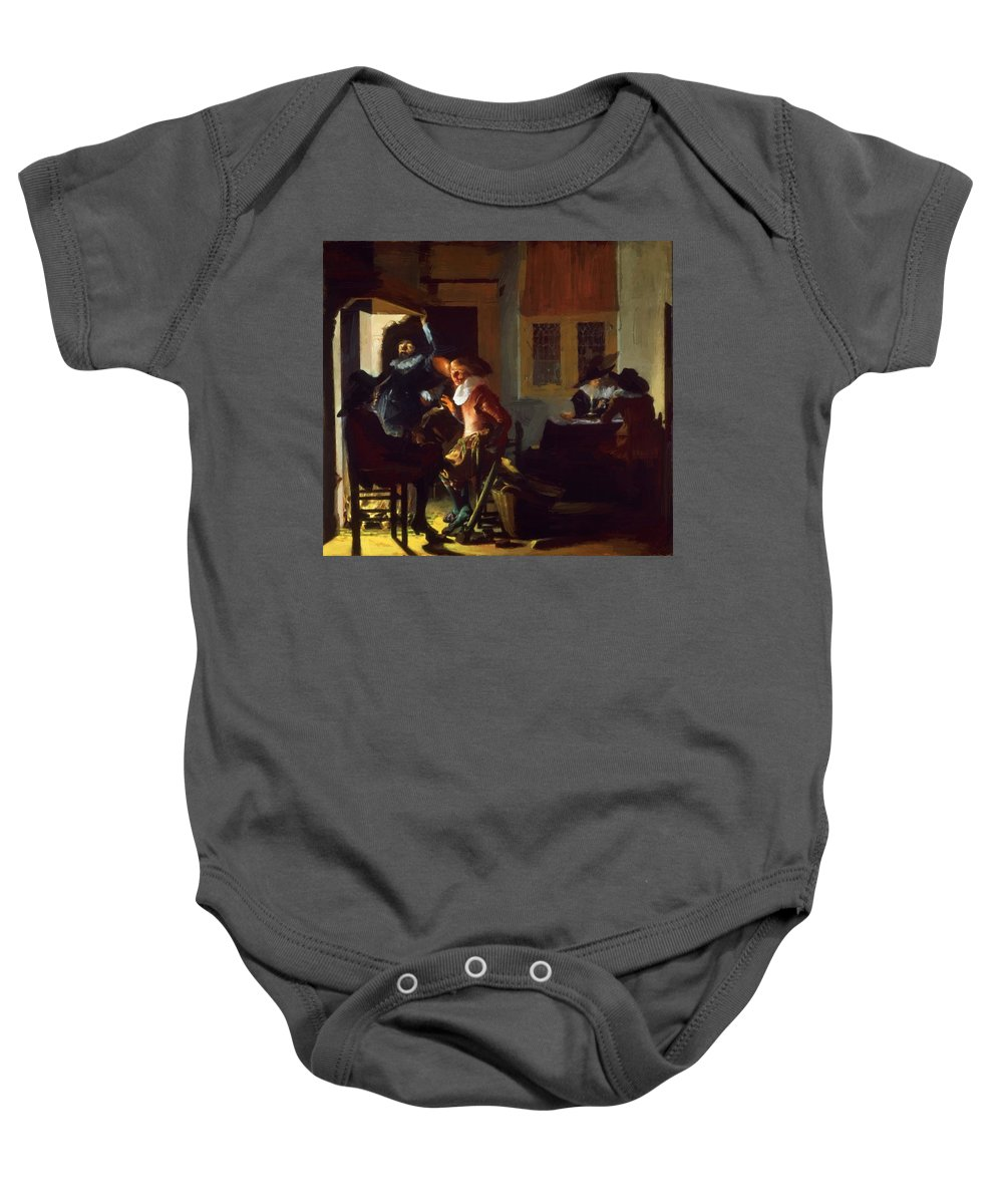 Soldiers Baby Onesie featuring the painting Soldiers Beside A Fireplace 1632 by Duyster Willem Cornelisz