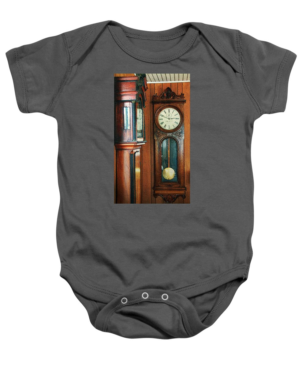 Antiques Baby Onesie featuring the digital art Somebodys Grandfathers Clocks by RC DeWinter