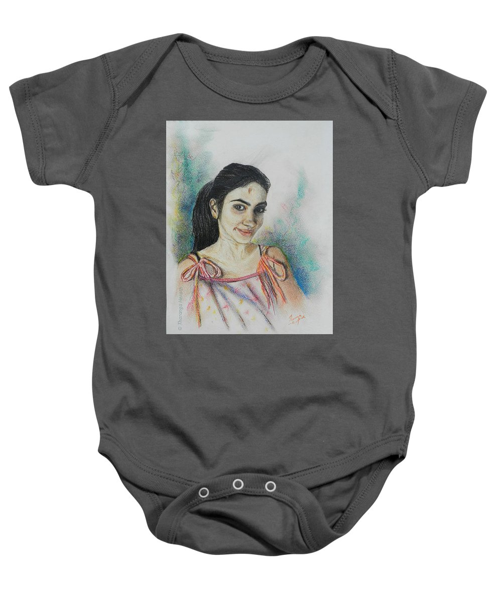 Portraits Baby Onesie featuring the painting Something Different by Tharanga Herath