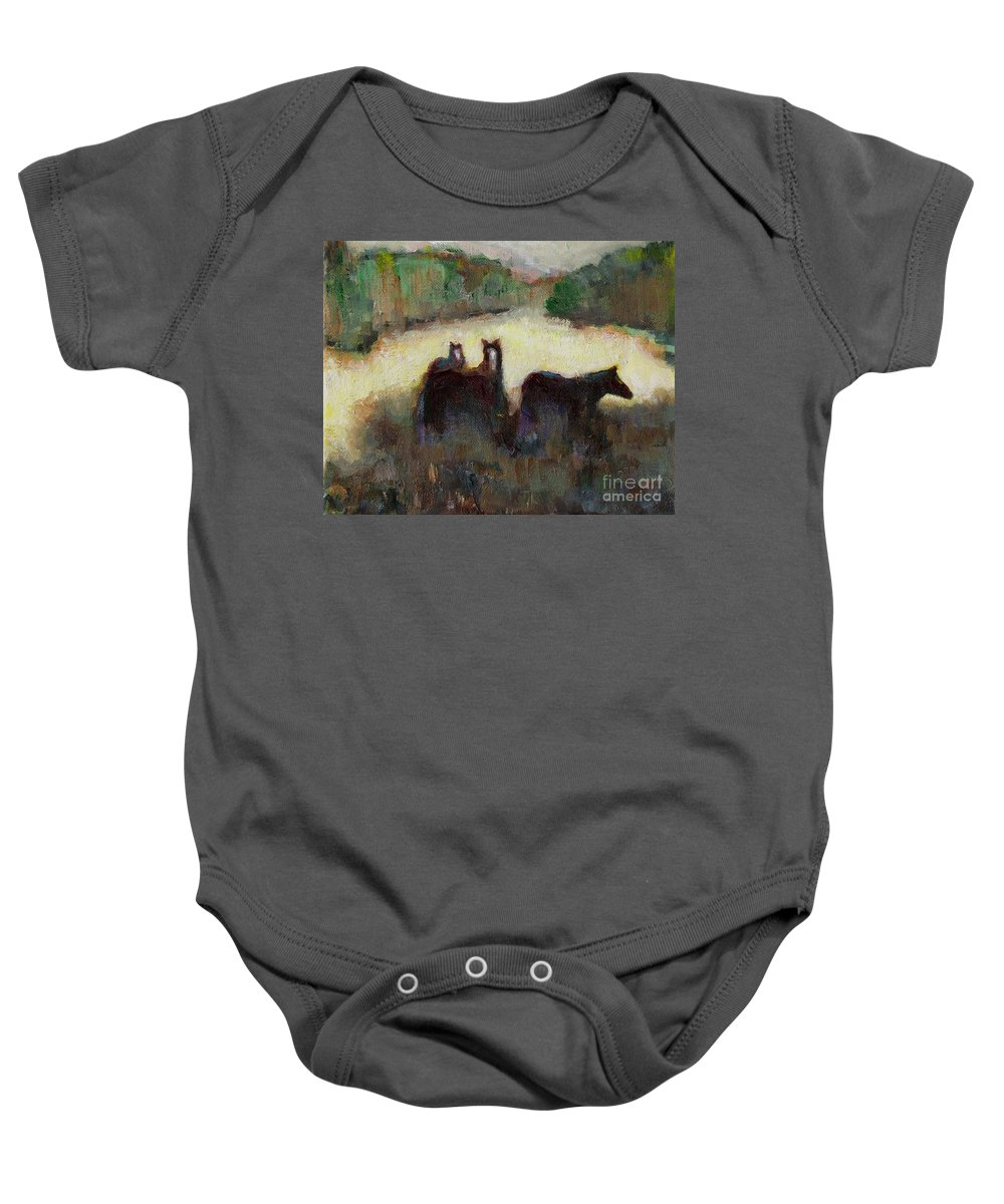 Horses Baby Onesie featuring the painting Sometimes We Need To Get Out Of The Heat by Frances Marino