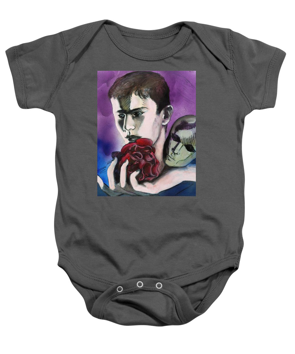 Mask Baby Onesie featuring the painting Sometimes Your Eyes by Rene Capone