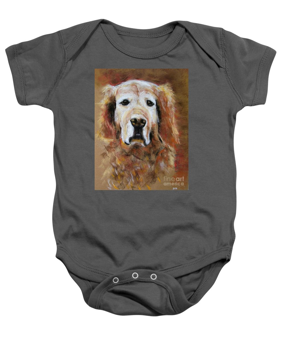Golden Baby Onesie featuring the painting Sonny by Frances Marino