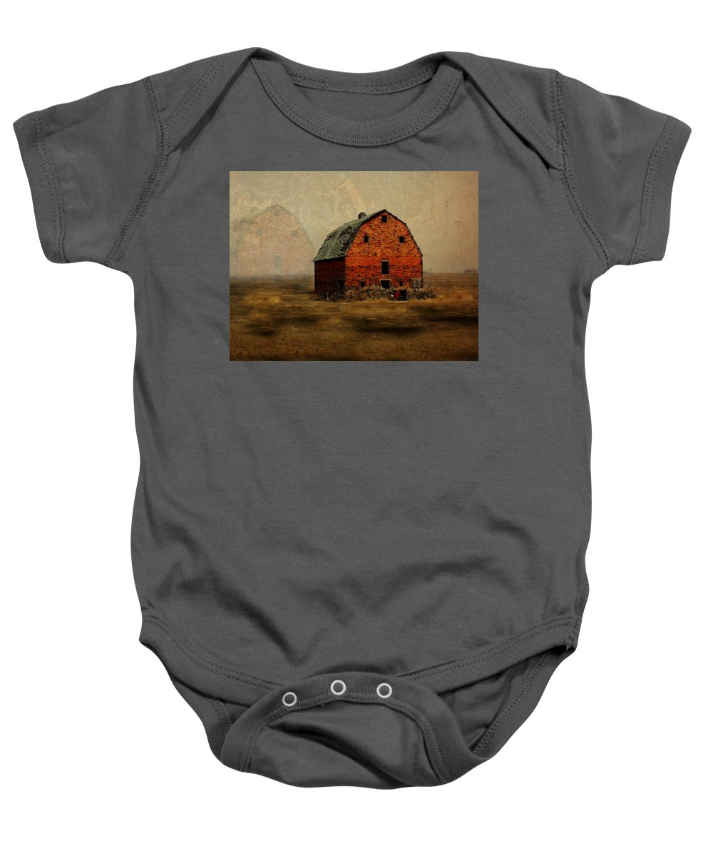 Barn Baby Onesie featuring the digital art Soon To Be Forgotten by Julie Hamilton