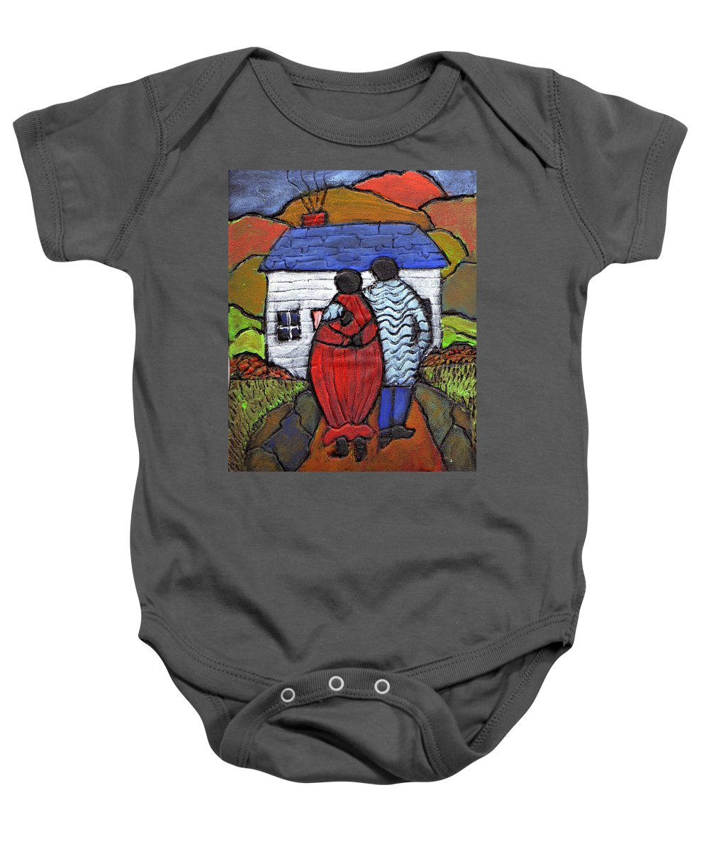 Folk Art Baby Onesie featuring the painting Soon To Be Three by Wayne Potrafka