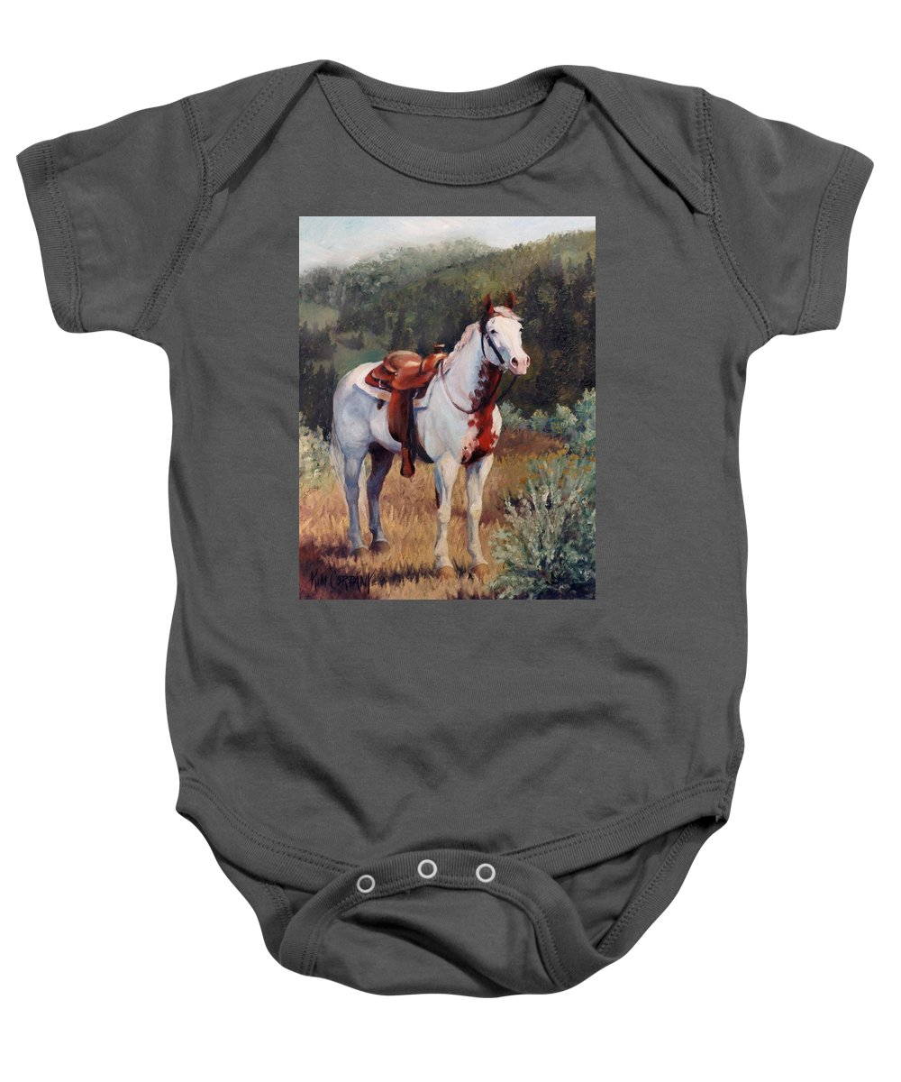 Paint Baby Onesie featuring the painting Sophie Flinders Paint Mare Horse Portrait Painting by Kim Corpany