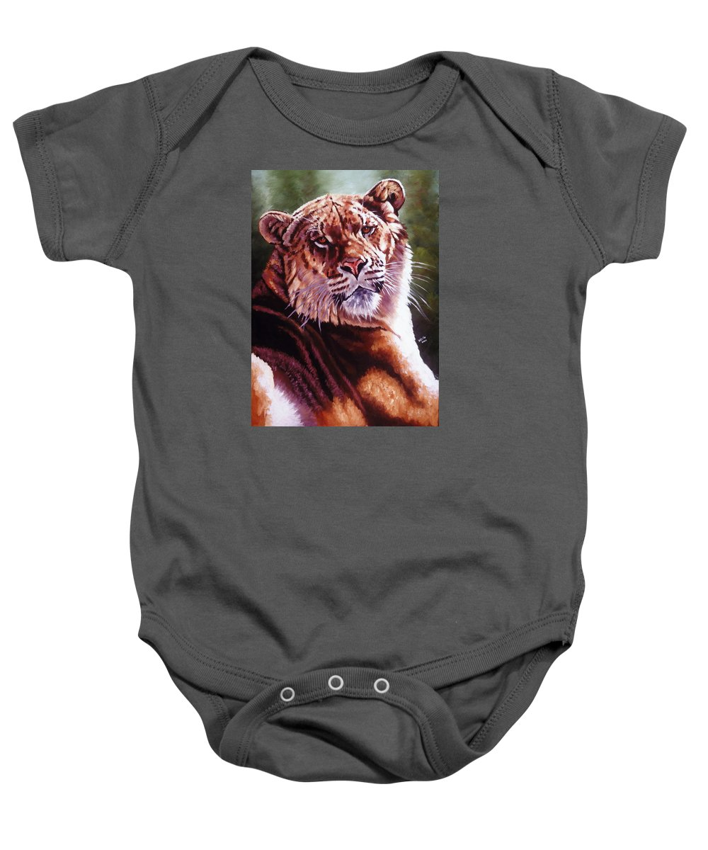 Hybrid Baby Onesie featuring the painting Sophie The Liger by Barbara Keith