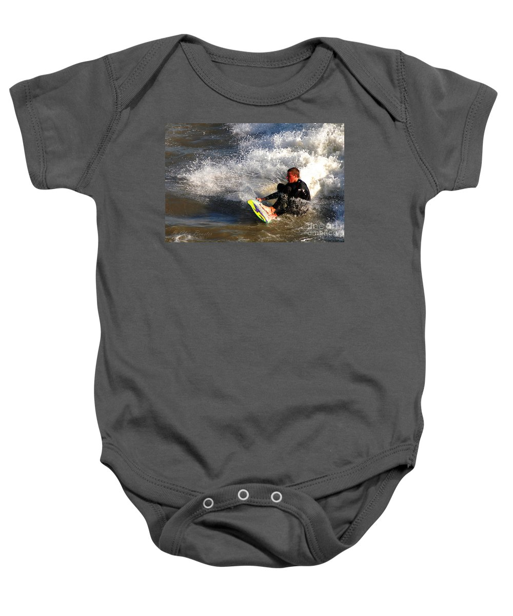 Clay Baby Onesie featuring the photograph Sorfin' In Socal by Clayton Bruster