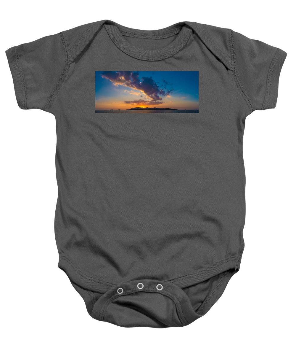 Sunset Baby Onesie featuring the photograph South China Sea Sunset by Judith Barath
