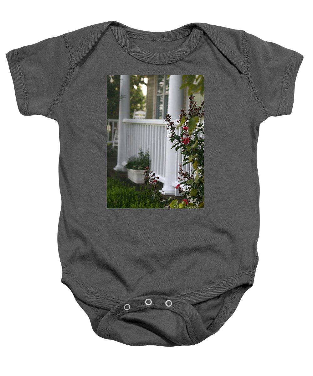 Summer Baby Onesie featuring the photograph Southern Summer Flowers And Porch by Nadine Rippelmeyer