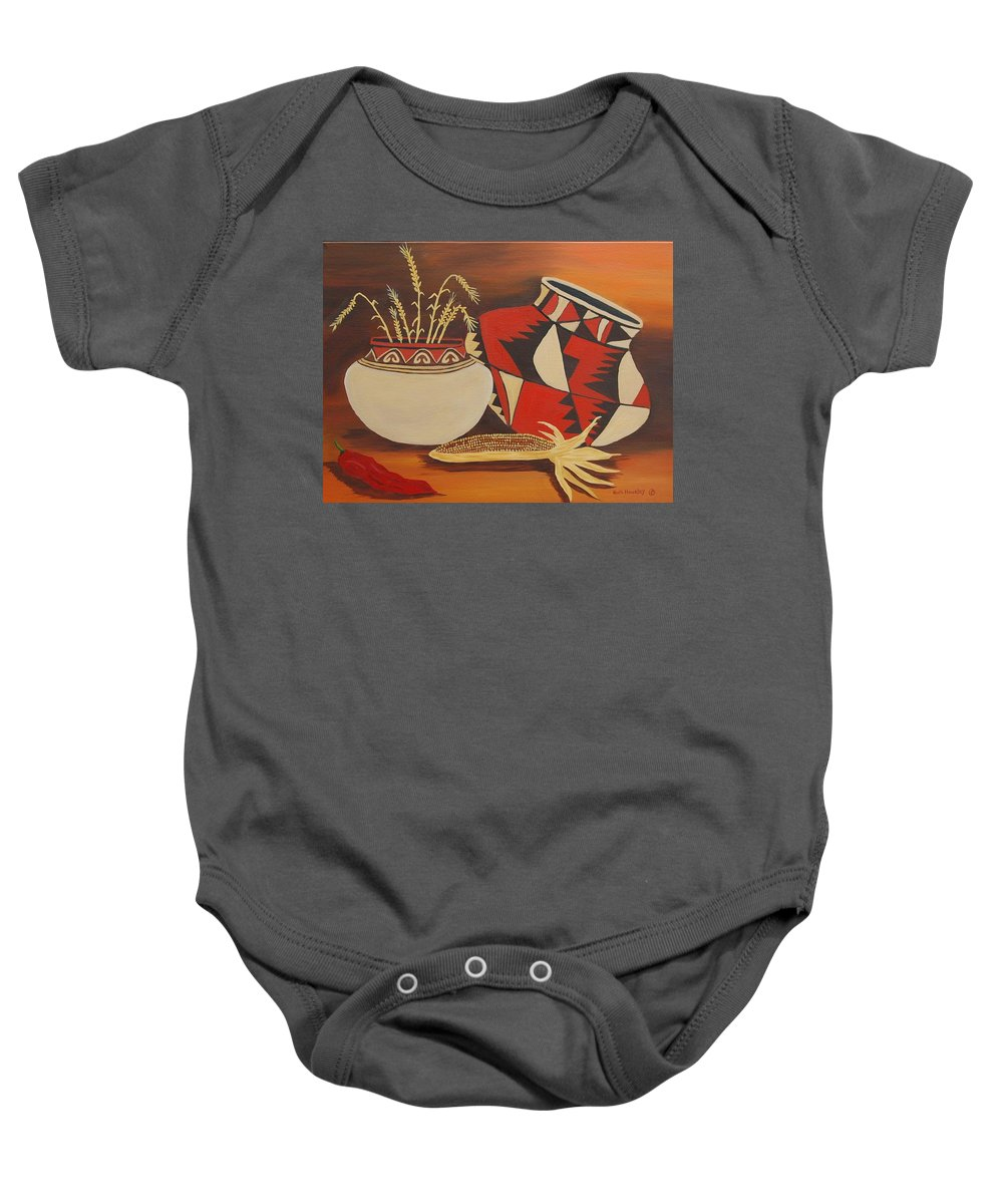 Still Life Baby Onesie featuring the painting Southwest Pottery by Ruth Housley