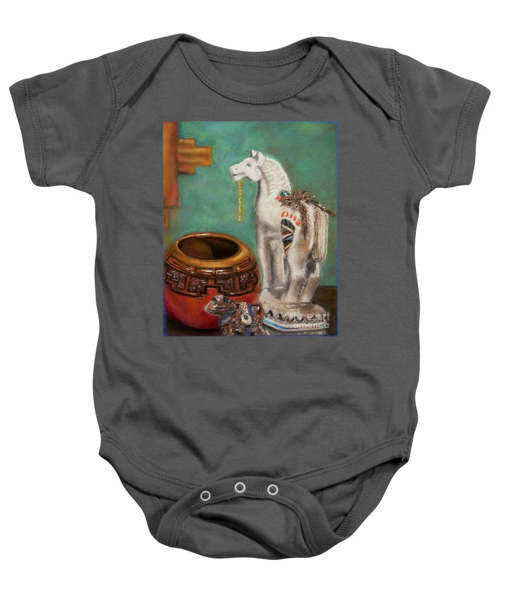 Southwest Art Baby Onesie featuring the painting Southwest Treasures by Frances Marino