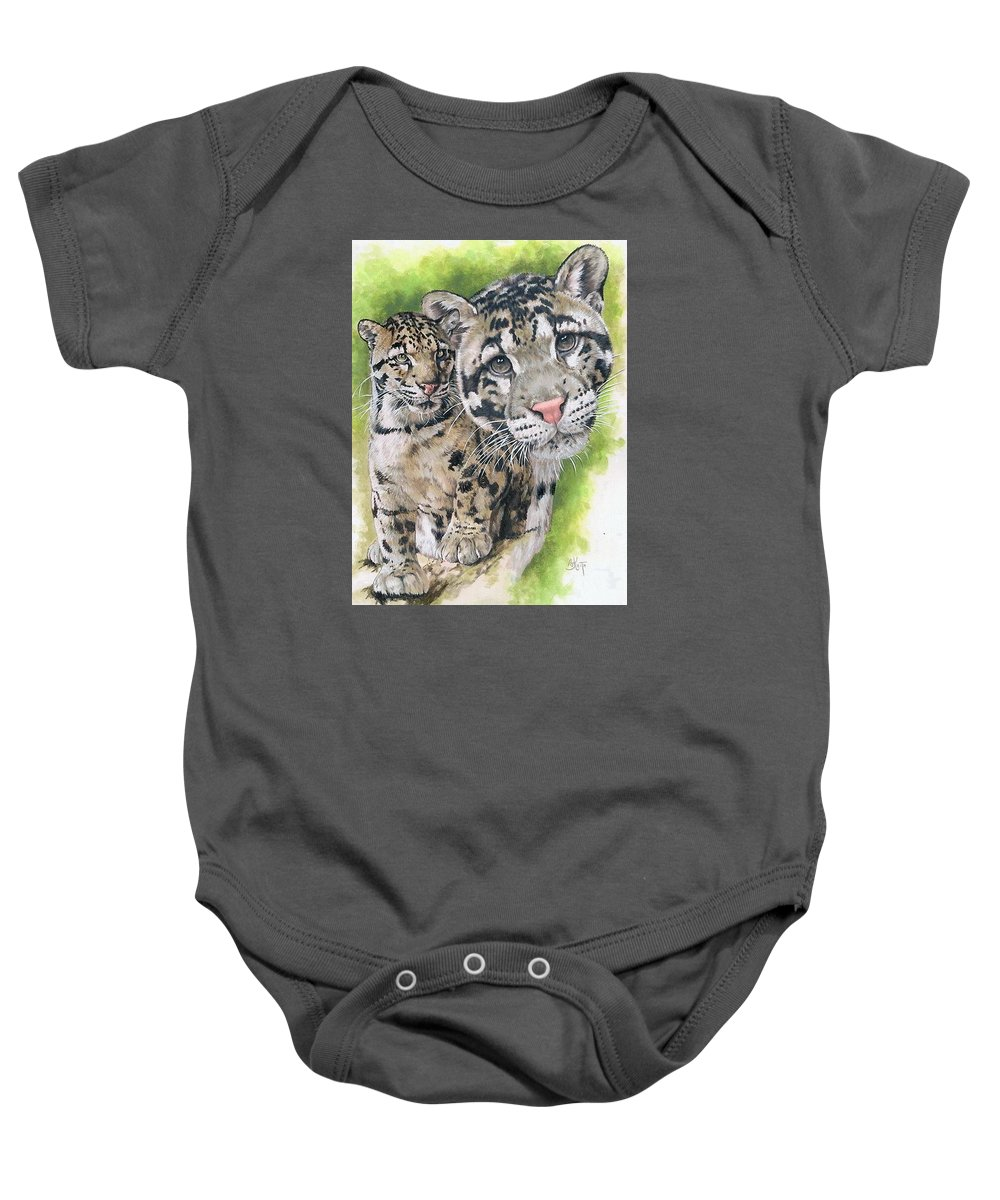 Clouded Leopard Baby Onesie featuring the mixed media Sovereignty by Barbara Keith