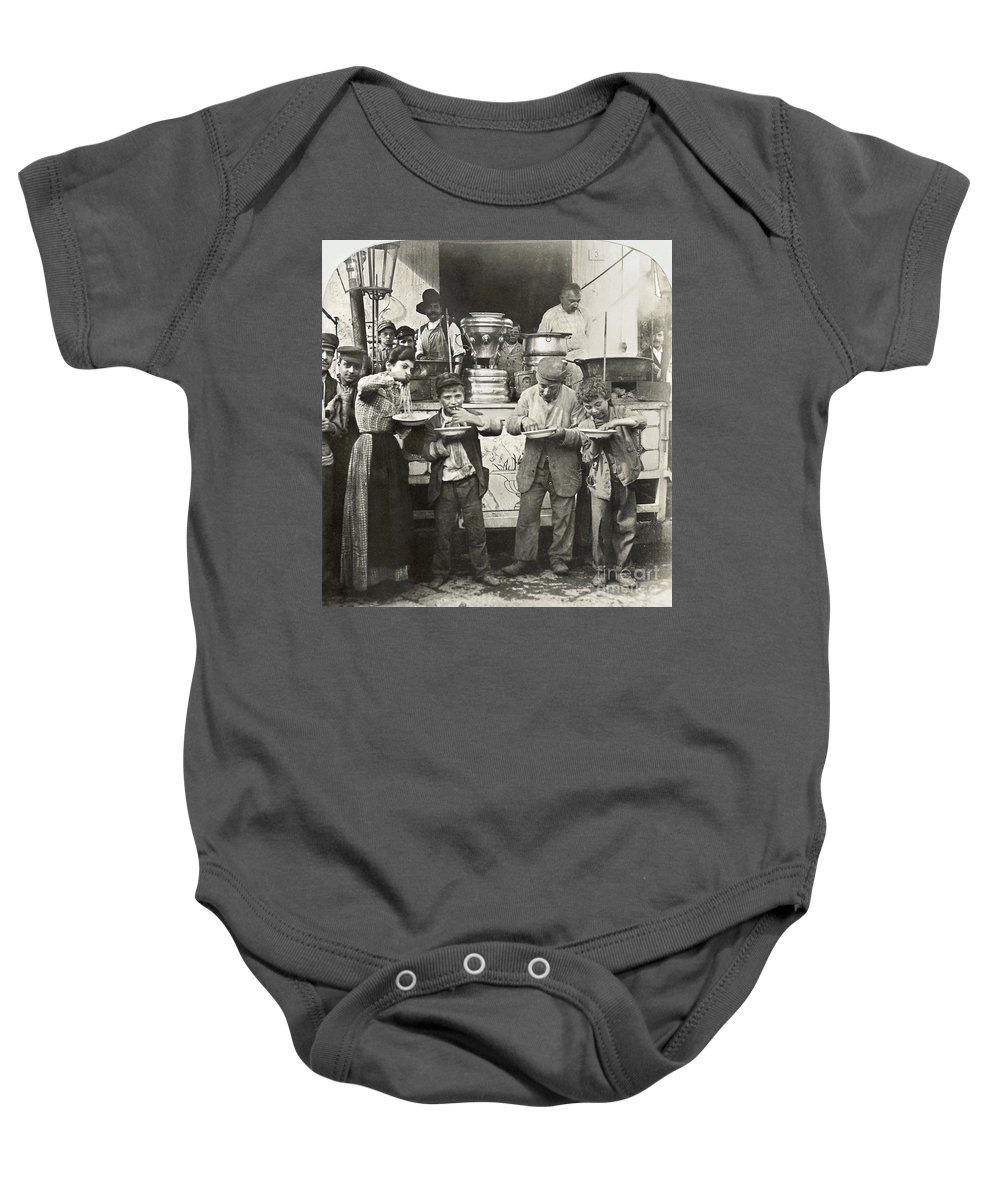 1908 Baby Onesie featuring the photograph Spaghetti Vendor, C1908 by Granger