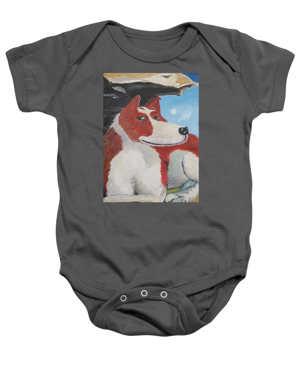 Cavalier King Charles Spaniel Baby Onesie featuring the painting Spaniel Ancestor by Craig Newland