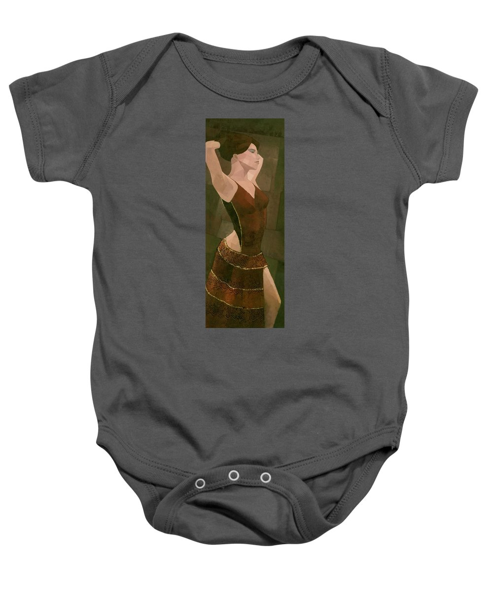 Female Baby Onesie featuring the painting Spanish Dancer by Steve Mitchell