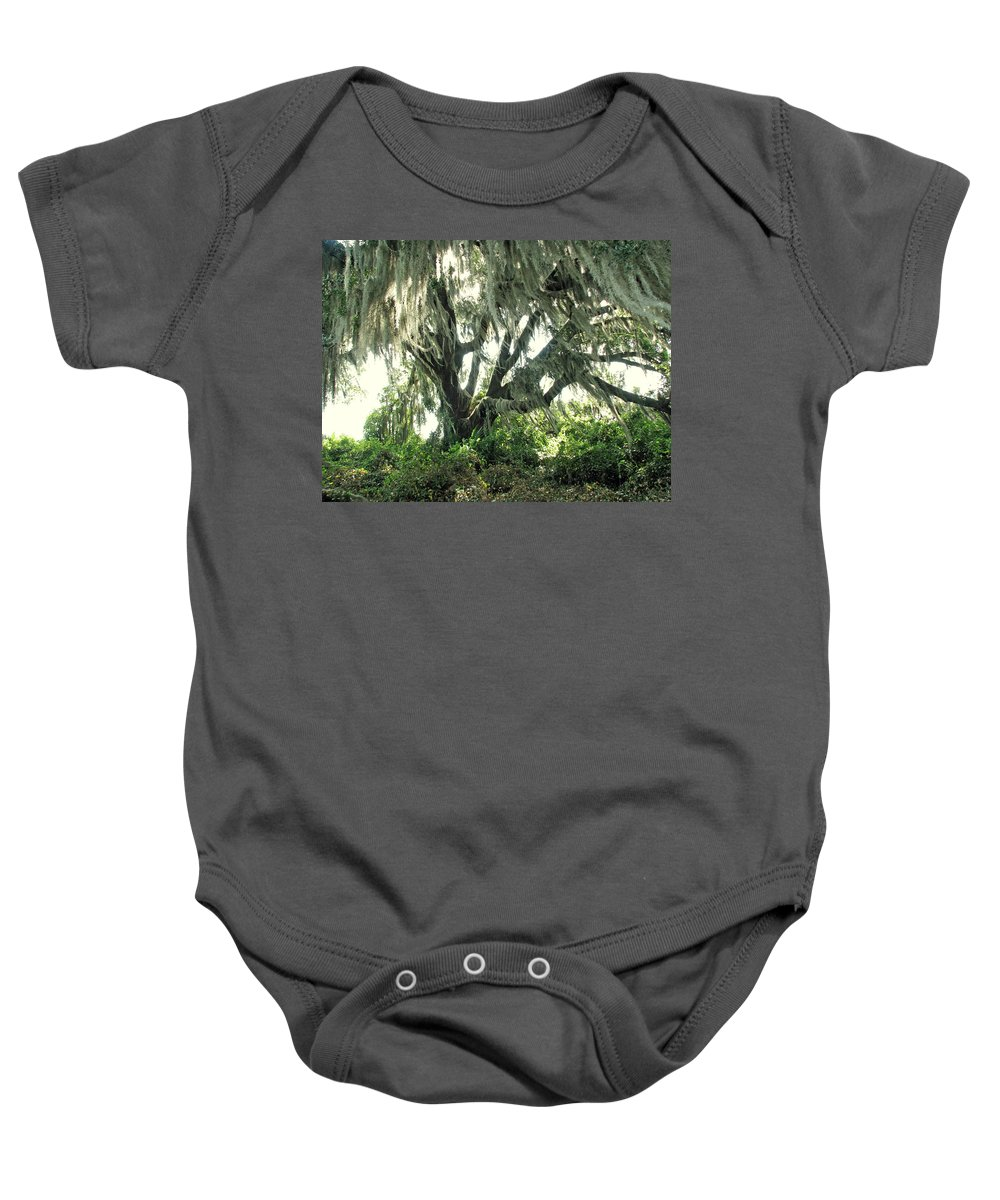 Nature Baby Onesie featuring the photograph Spanish Moss In Motion by Peg Urban