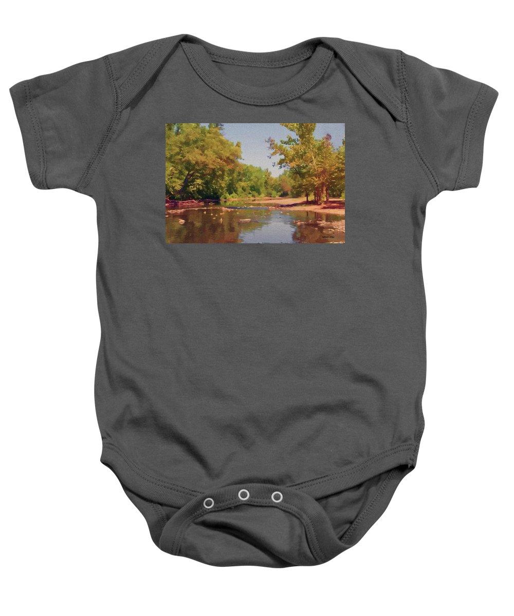 Creek Baby Onesie featuring the painting Spavinaw Creek by Jeffrey Kolker