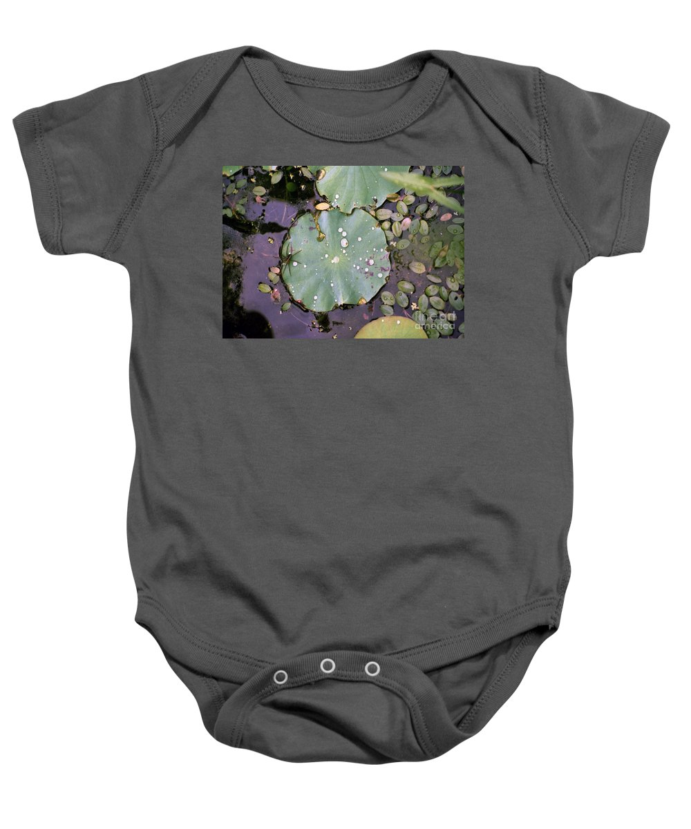 Lillypad Baby Onesie featuring the photograph Spider And Lillypad by Richard Rizzo