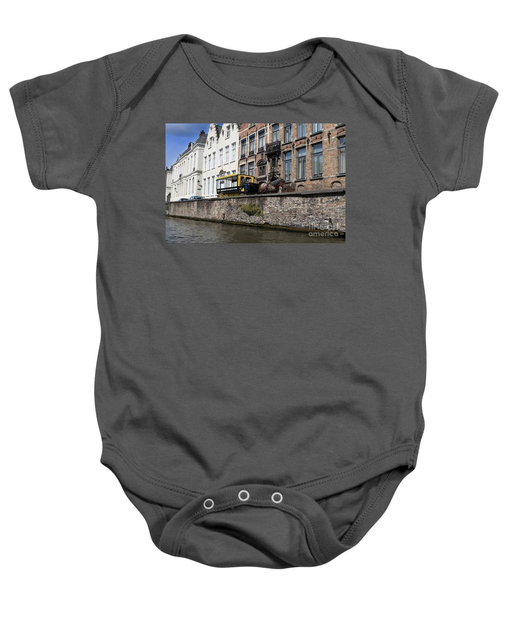 Spieglerei Baby Onesie featuring the photograph Spieglerei Canal In Bruges Belgium by Louise Heusinkveld