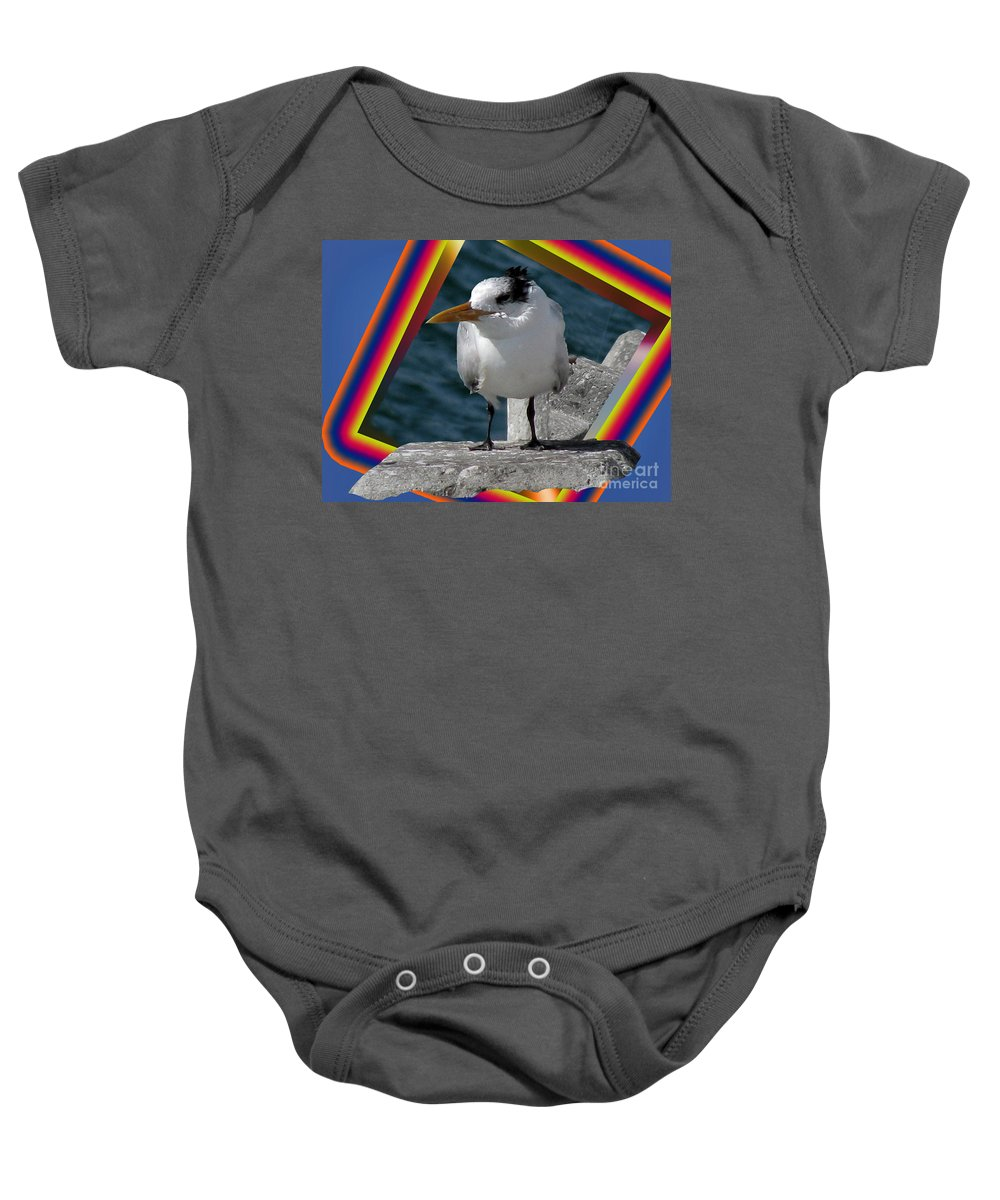 Bird Baby Onesie featuring the digital art Spike Flying Carpet by Donna Brown