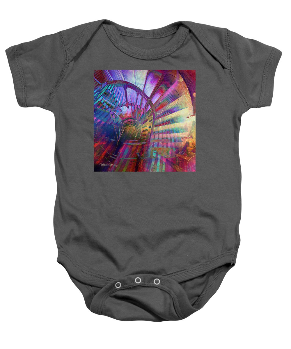 Spiral Baby Onesie featuring the digital art Spiral Staircase by Barbara Berney