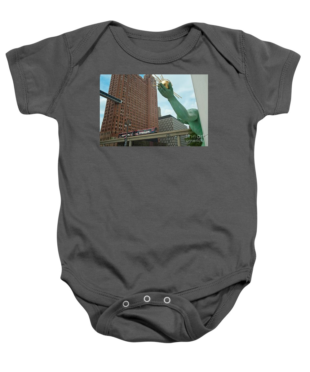 Spirit Of Detroit Baby Onesie featuring the photograph Spirit Of Detroit And People Mover by Steven Dunn