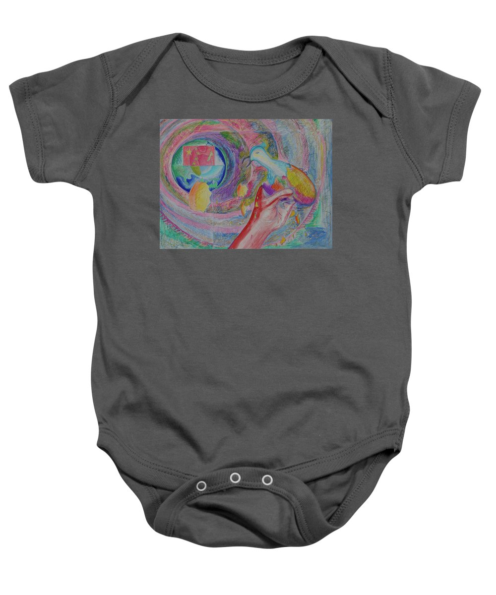 Johnpowellpaintings Baby Onesie featuring the painting Spirit Of Piece by John Powell