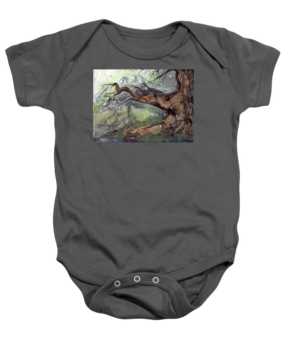 Bark Baby Onesie featuring the painting Spirit Tree by Sherry Shipley