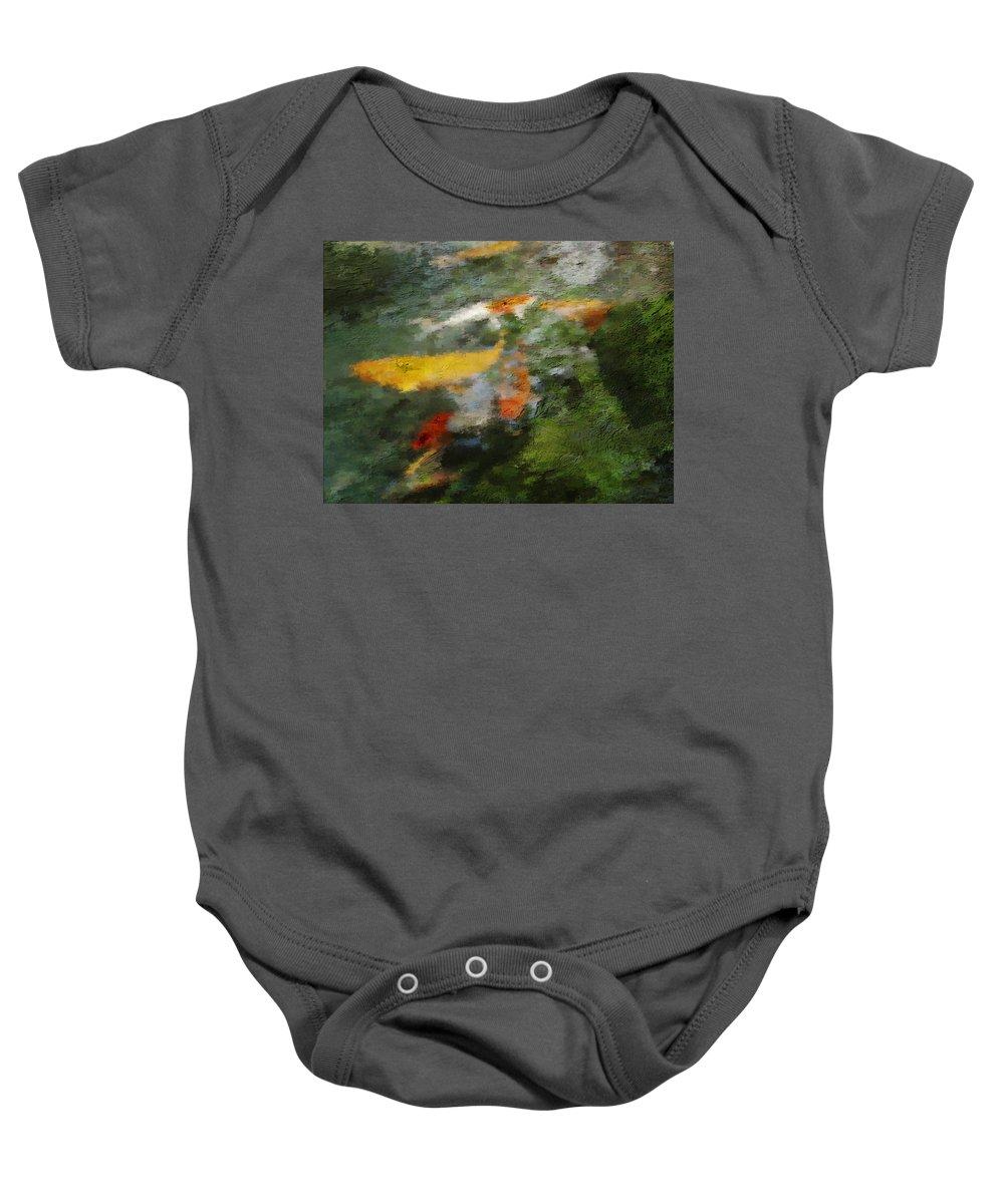 Water Baby Onesie featuring the photograph Splash Of Koi by Jo-Anne Gazo-McKim