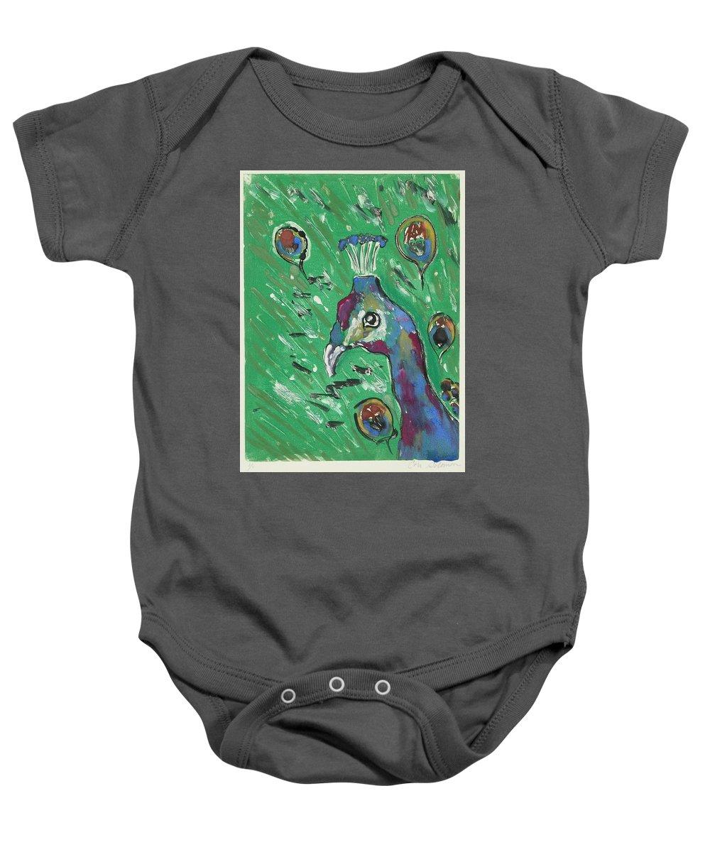 Peacock Baby Onesie featuring the mixed media Splendor Is The Night by Cori Solomon