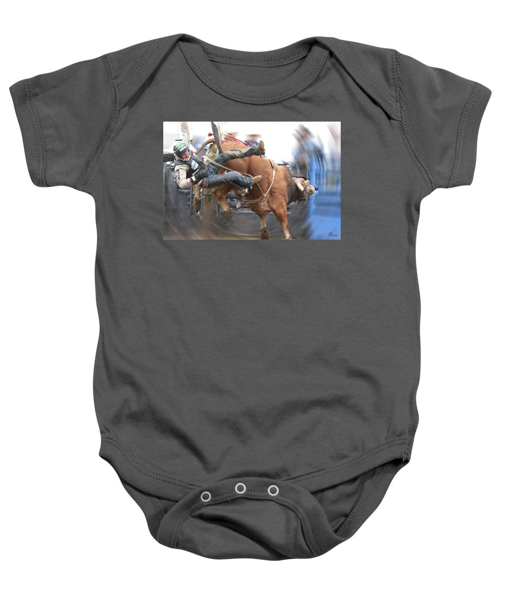 Cowboy Bull Riding Cow Rodeo Falling Entertainment Baby Onesie featuring the photograph Split by Andrea Lawrence