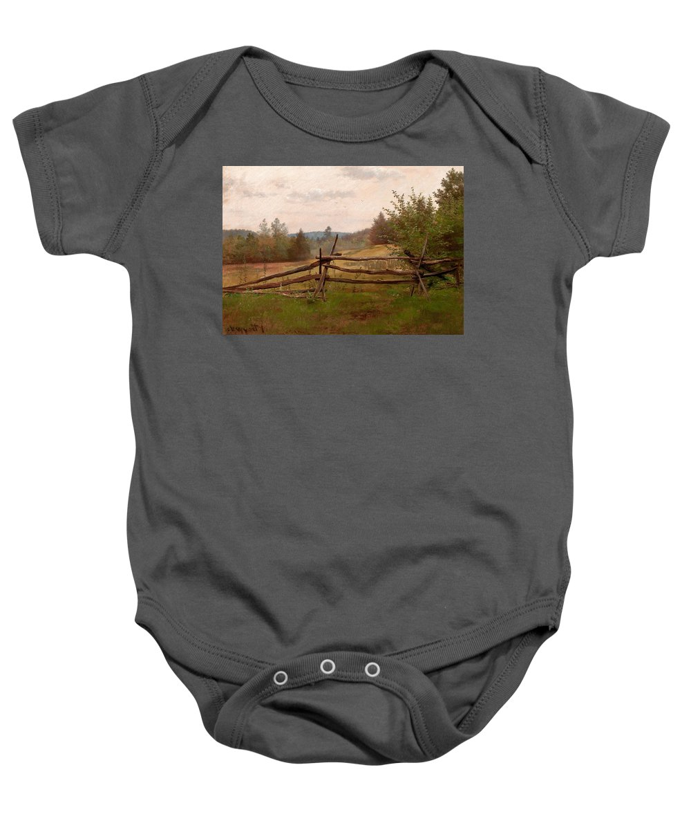 American Artist Baby Onesie featuring the painting Split Rail Fence by Alexander Helwig Wyant