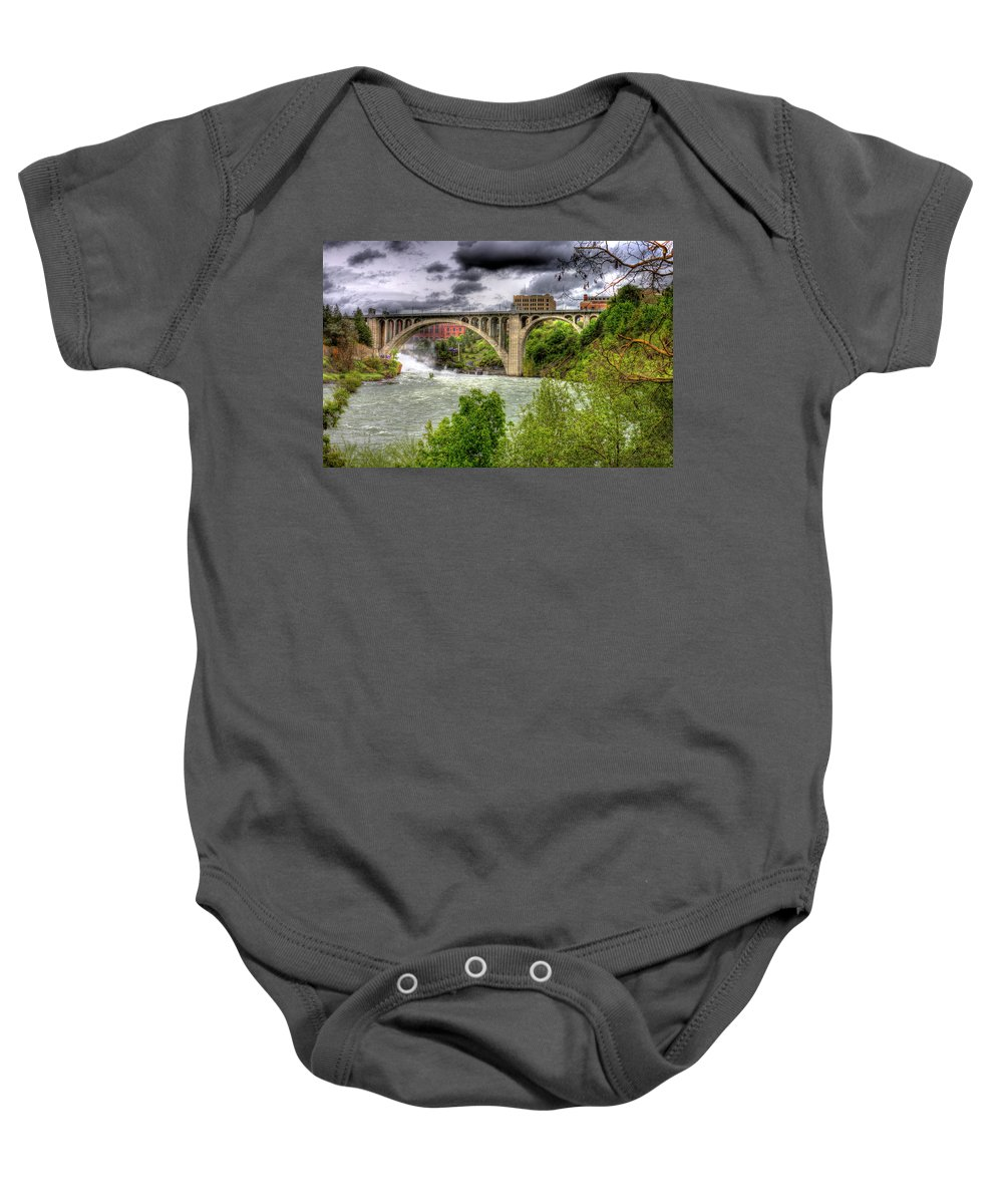 Baby Onesie featuring the photograph Spokane Falls And Monroe Bridge by Lee Santa