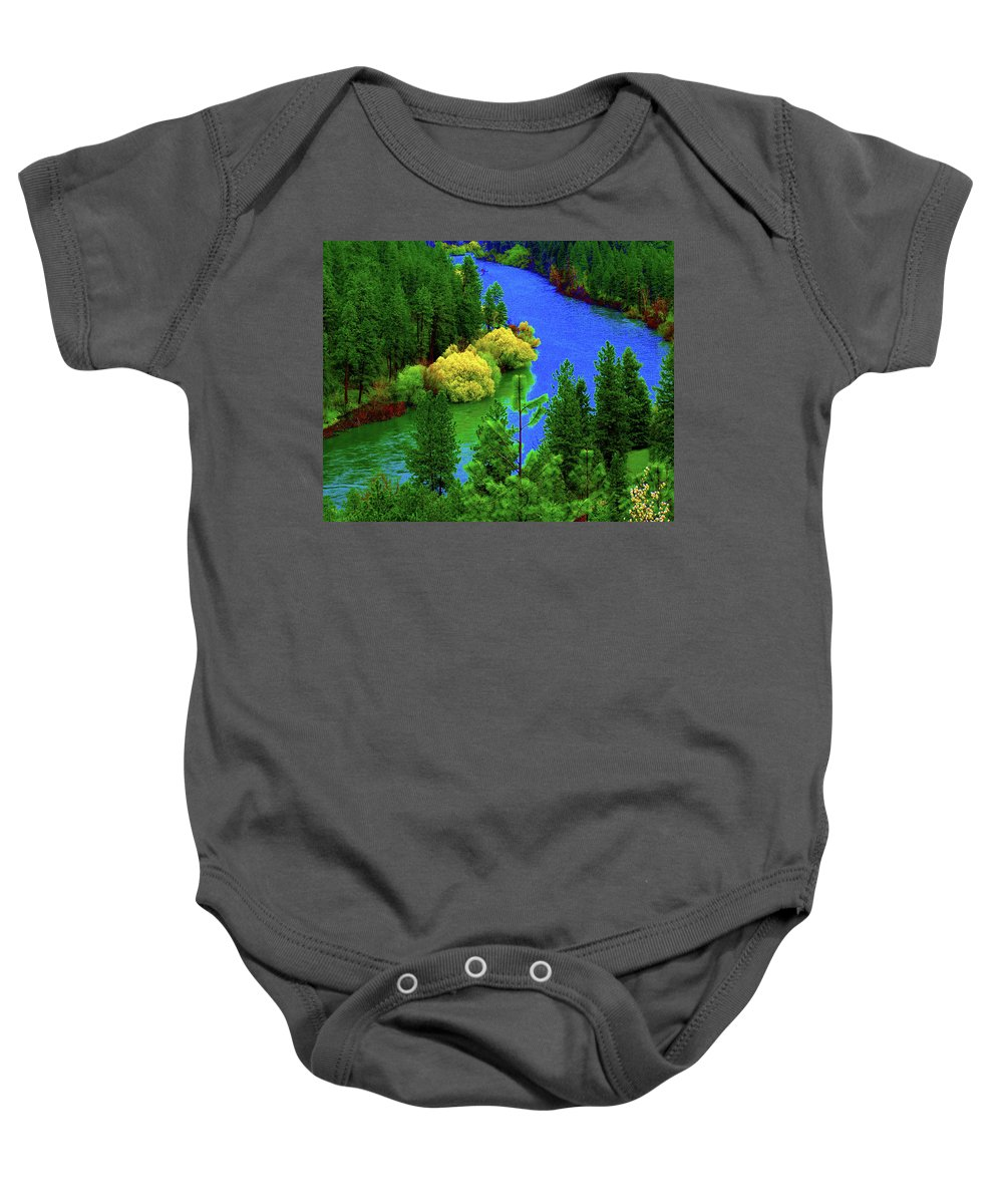 Photo Art Baby Onesie featuring the photograph Spokane River Blues by Ben Upham III