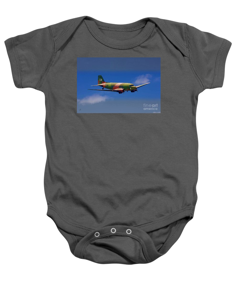 Douglas Baby Onesie featuring the digital art Spooky Douglas Ac-47 by Tommy Anderson
