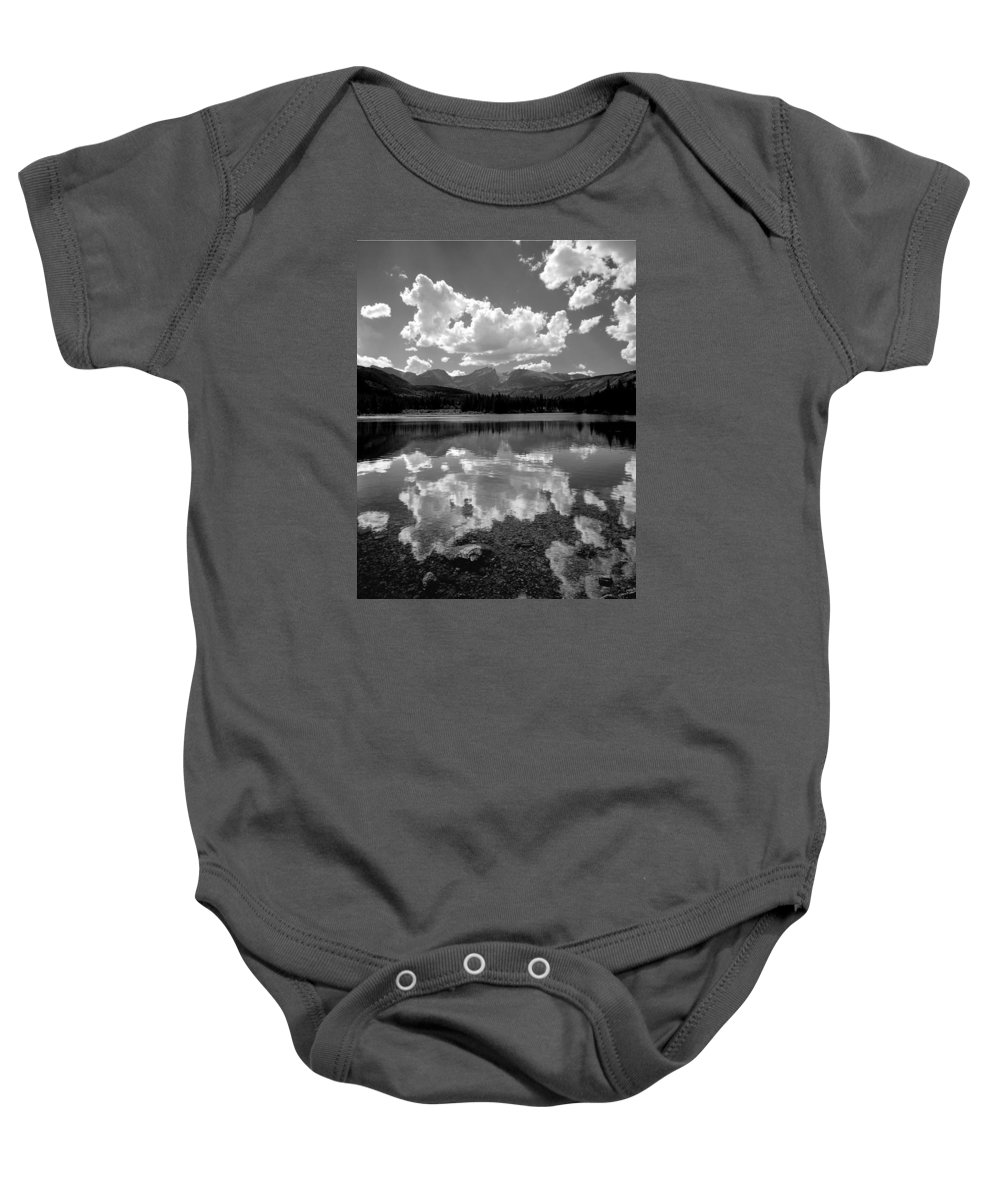 Clouds Baby Onesie featuring the photograph 310204-bw-sprague Lake Reflect Bw by Ed Cooper Photography