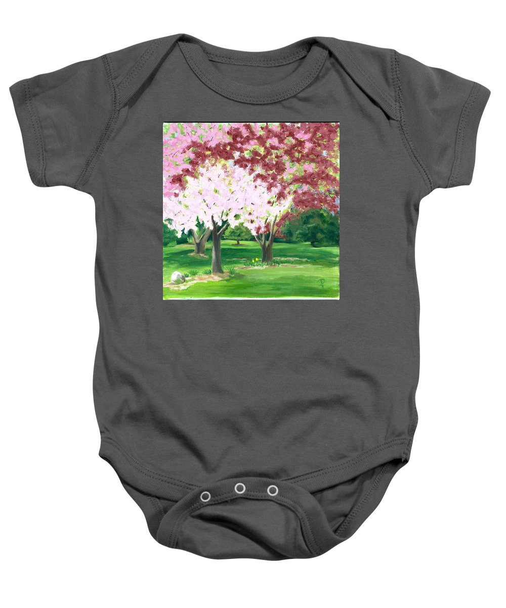 Spring Baby Onesie featuring the painting Spring At Osage Land Trust by Paula Emery