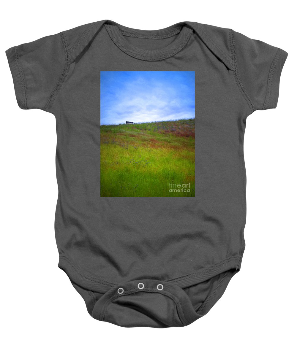 Bench Baby Onesie featuring the photograph Spring Bench by Tara Turner