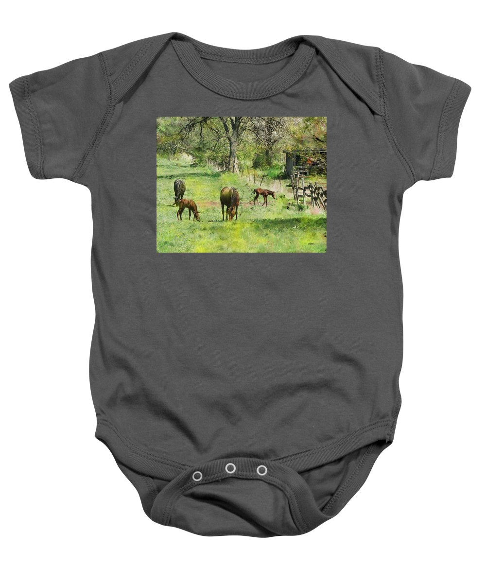Spring Colts Baby Onesie featuring the digital art Spring Colts by John Beck