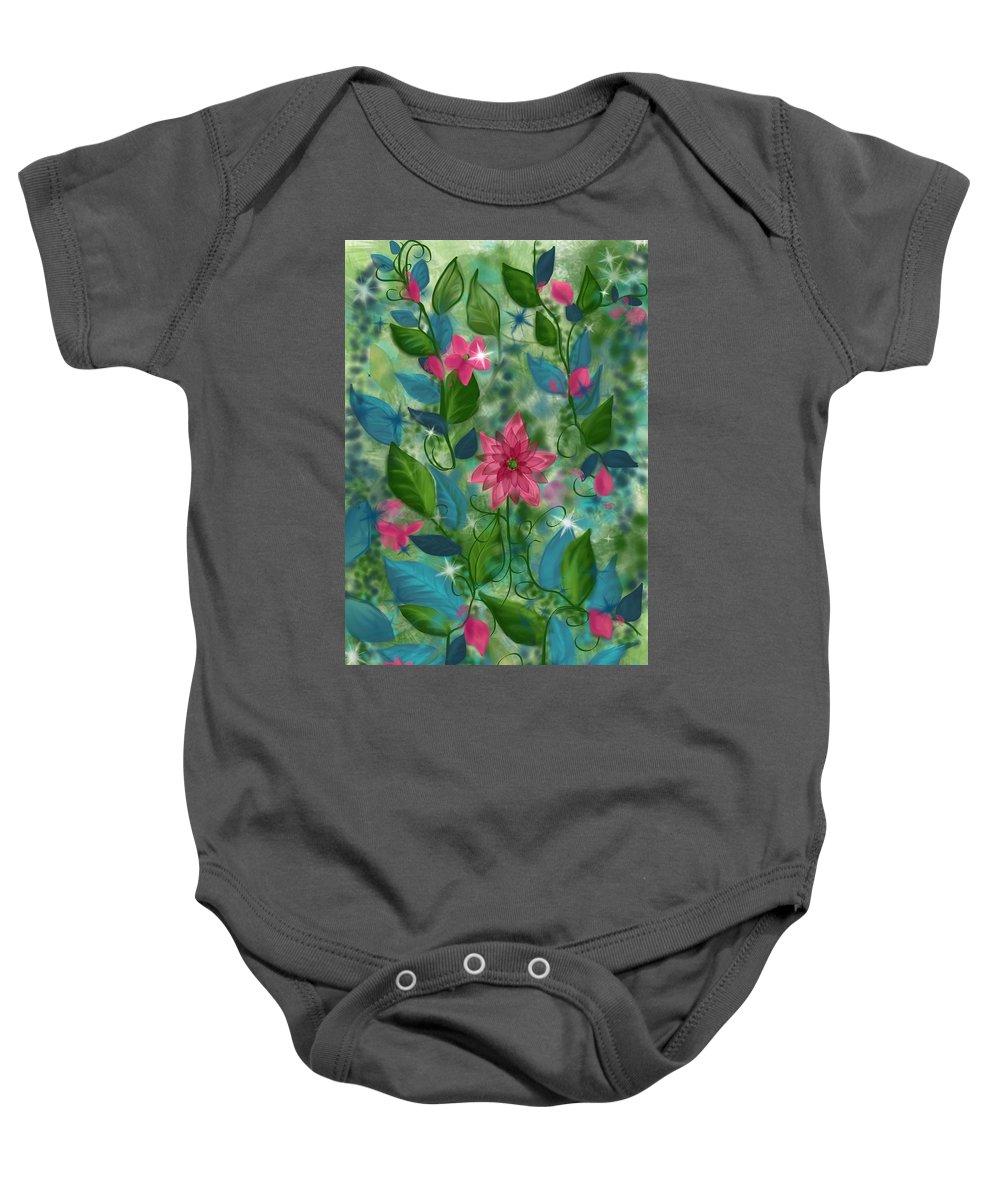 Flowers Baby Onesie featuring the digital art Spring Green by Kathleen Hromada
