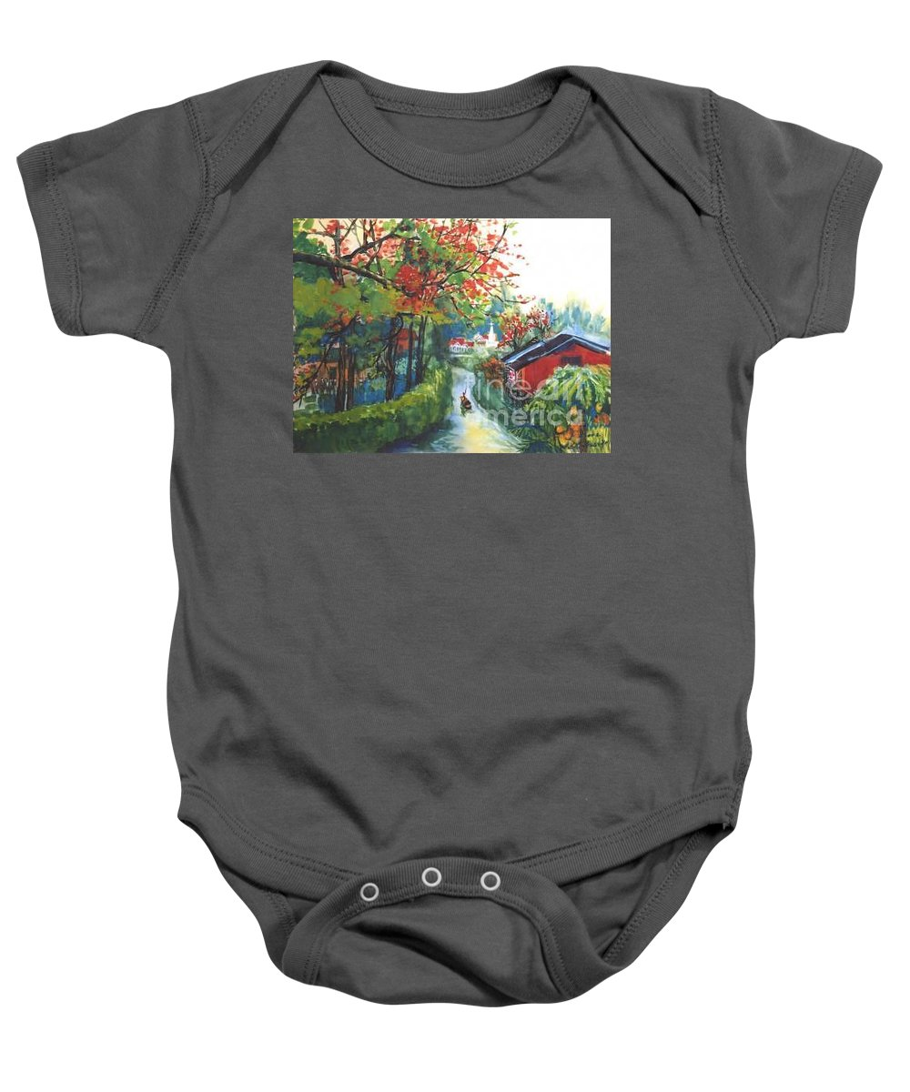 Spring Baby Onesie featuring the painting Spring In Southern China by Guanyu Shi