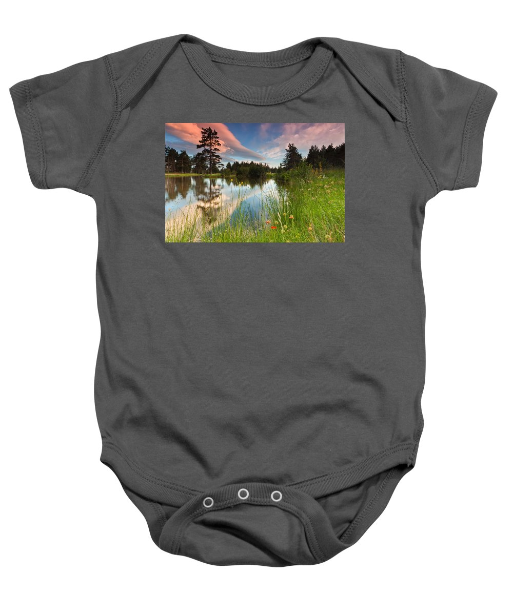 Mountain Baby Onesie featuring the photograph Spring Lake by Evgeni Dinev