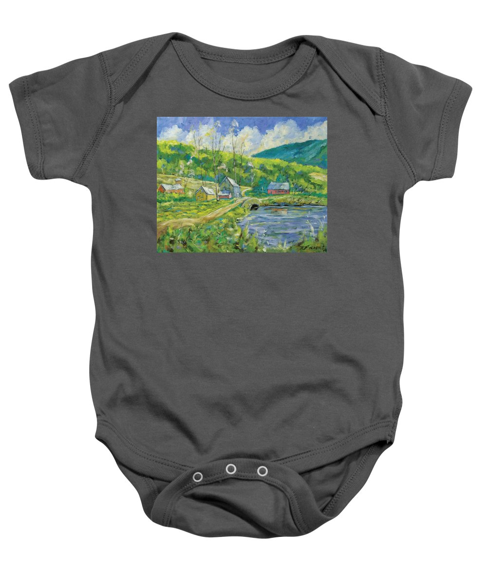 Landscape Baby Onesie featuring the painting Spring Scene by Richard T Pranke
