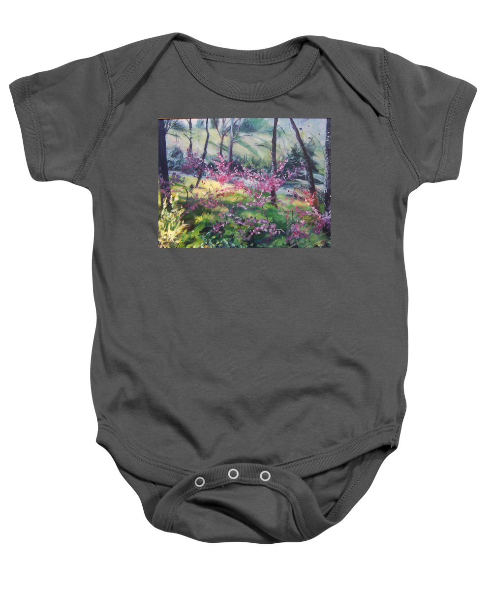 Landscape Baby Onesie featuring the painting Spring by Sheila Holland