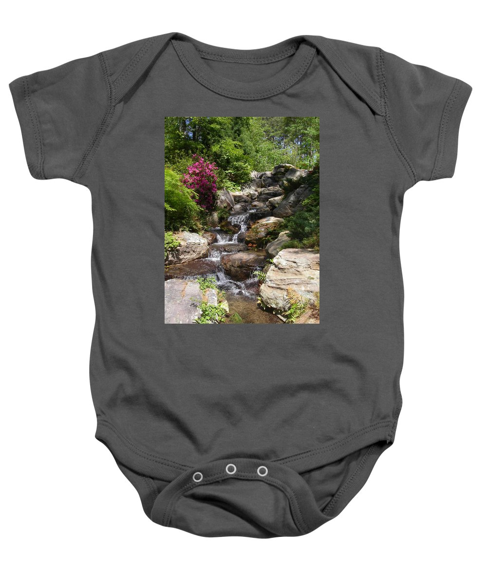 Spring Baby Onesie featuring the photograph Spring Waterfall by Anne Cameron Cutri